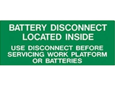 107051-000 UpRight Battery Disconnect Decal