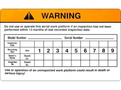 109985AB SkyJack Inspection List Decal